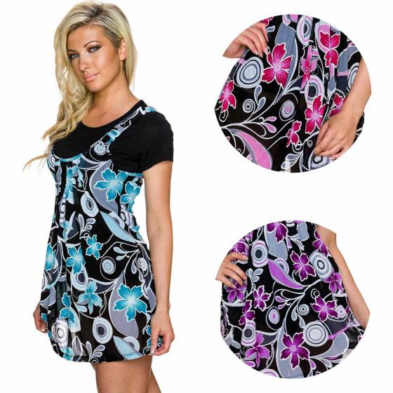 Charbell T-Shirt mit aufgesetztem Kleid Blumenmusterung (36-44)