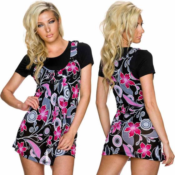 Charbell 2-in-1 T-Shirt & Mini-Kleid Stretch geblümt, Pink L