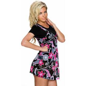 Charbell 2-in-1 T-Shirt & Mini-Kleid Stretch geblümt, Pink XL