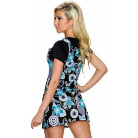 Charbell 2-in-1 T-Shirt & Mini-Kleid Stretch geblümt, Türkis M