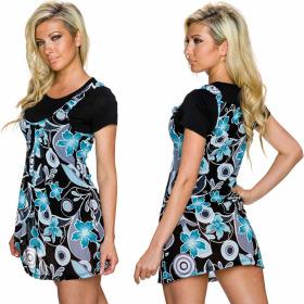 Charbell 2-in-1 T-Shirt & Mini-Kleid Stretch geblümt, Türkis L