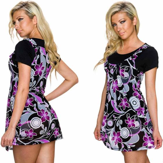 Charbell 2-in-1 T-Shirt & Mini-Kleid Stretch geblümt, Lila L