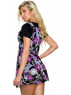 Charbell 2-in-1 T-Shirt & Mini-Kleid Stretch geblümt, Lila XL