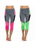 3/4-Leggings Neon m. Streifen & Melange, SET Grün + Pink M