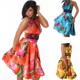 Jela London Neckholder Kleid Satin Blumen Glanz...