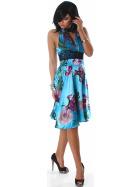 Jela London Cocktail Kleid Neckholder Satin-Glanz Blumen Dekor Blau SM