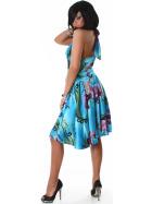 Jela London Cocktail Kleid Neckholder Satin-Glanz Blumen Dekor Blau ML