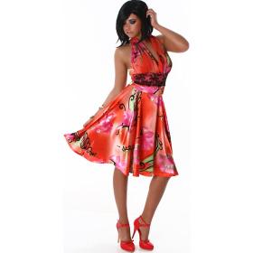 Jela London Cocktail Kleid Neckholder Satin-Glanz Blumen Dekor Rot SM