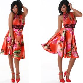 Jela London Cocktail Kleid Neckholder Satin-Glanz Blumen Dekor Rot ML