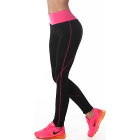 Power Flower lange Sport-Leggings Streifen hoher Bund, Schwarz-Pink SM