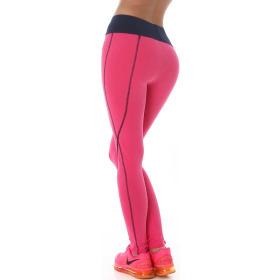 Power Flower lange Sport-Leggings Streifen hoher Bund, Pink-Schwarz SM