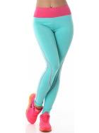 Power Flower lange Sport-Leggings Streifen hoher Bund, Türkis-Pink SM