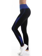 Leggings lang Fitness Sport Hoher Bund schwarz, Blau ML