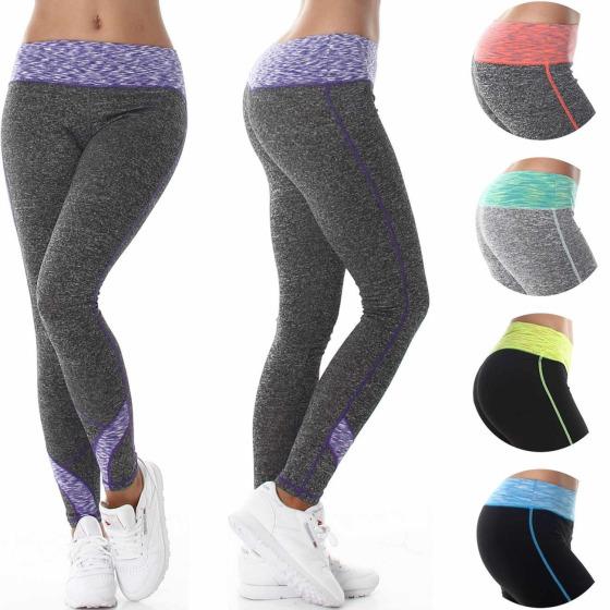 Boxin Damen lange Fitness-Leggings Farbstreifen in Melange (32 - 40)