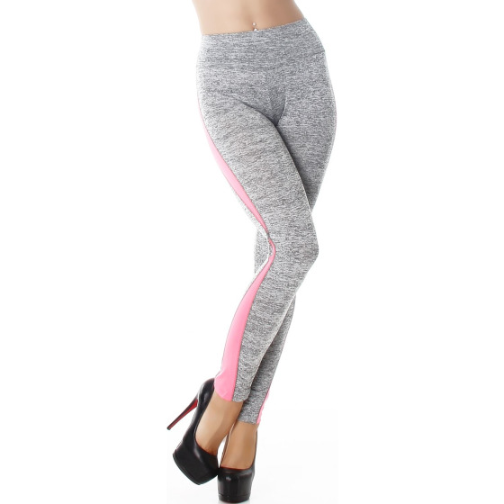 Power Flower Damen High Waist Leggins Streifen, Hellgrau-Neonpink 34 36