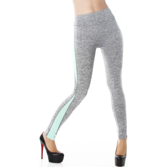Power Flower Damen High Waist Leggins Streifen, Hellgrau-Minzgrün 38 40