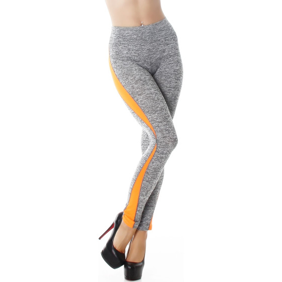 Power Flower Damen High Waist Leggins Streifen, Hellgrau-Neonorange 34 36