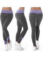 Damen Fitness Leggings lang zweifarbig Streifen Stretch, Lila ML