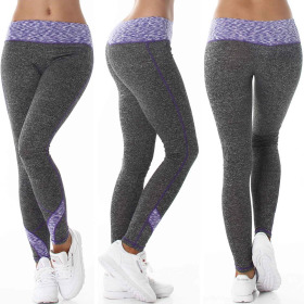Damen Fitness Leggings lang zweifarbig Streifen Stretch, Lila XLXXL