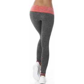 Damen Fitness Leggings lang zweifarbig Streifen Stretch, Orange ML