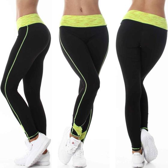 Damen Fitness Leggings lang zweifarbig Streifen Stretch, Gelb ML