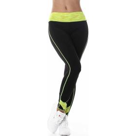 Damen Fitness Leggings lang zweifarbig Streifen Stretch, Gelb XLXXL