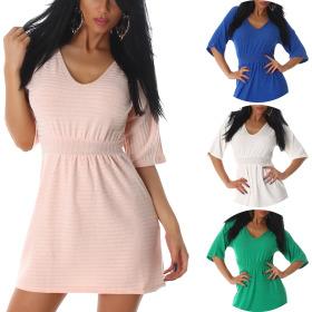 Voyelles Damen Mini Stretch Feinstrick-Kleid in...