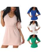 Voyelles Damen Mini Stretch Feinstrick-Kleid in Ripp-Mustererung Tailliert  (36 38 40)