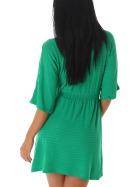 Mini Stretch Feinstrick-Kleid Ripp-Muster, Gruen 38