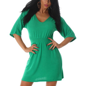 Mini Stretch Feinstrick-Kleid Ripp-Muster, Gruen 40