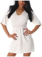 Mini Stretch Feinstrick-Kleid Ripp-Muster, Weiss 36