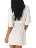 Mini Stretch Feinstrick-Kleid Ripp-Muster, Weiss 40