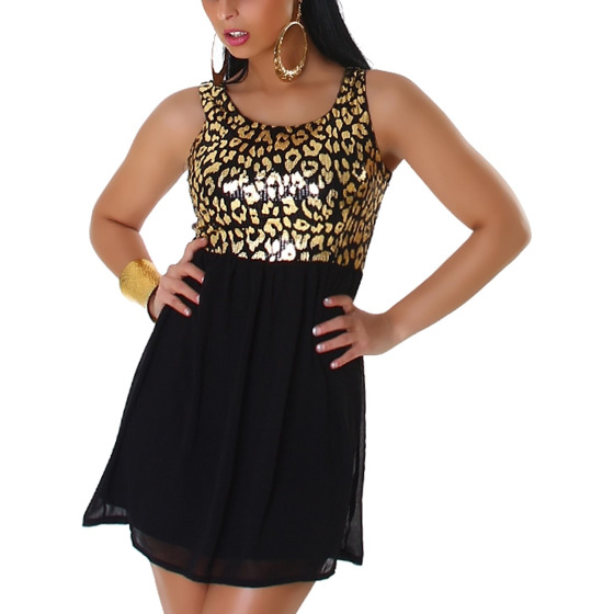 Graffith Pailletten-Kleid Chiffon Animal-Print Leopard, Gold M