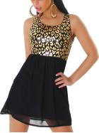 Graffith Pailletten-Kleid Chiffon Animal-Print Leopard, Gold M