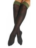 Halterlose Kniestrümpfe mit farbigem Strumpfband, Brit Green