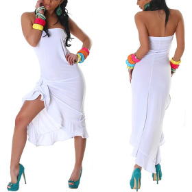 Jela London Bandeau Tanzkleid Maxikleid Latin Salsa Stretch, Weiß