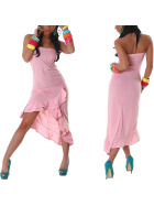 Jela London Bandeau Tanzkleid Maxikleid Latin Salsa Stretch, Rosa
