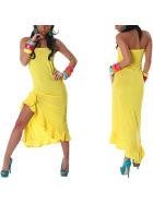 Jela London Bandeau Tanzkleid Maxikleid Latin Salsa Stretch, Gelb