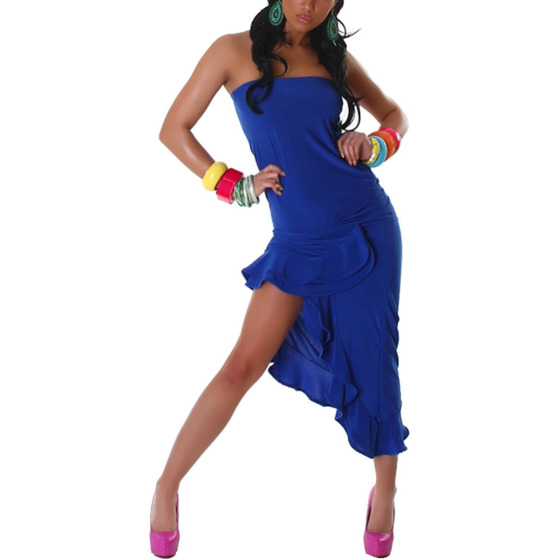 Jela London Bandeau Tanzkleid Maxikleid Latin Salsa Stretch, Blau