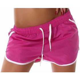 Veryzen Damen Sommer Shorts Freizeit, Violett-Weiß S