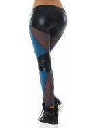 Veryzen Wetlook Leggings Strumpfhose Hotpants Streifen Glanz, Blau