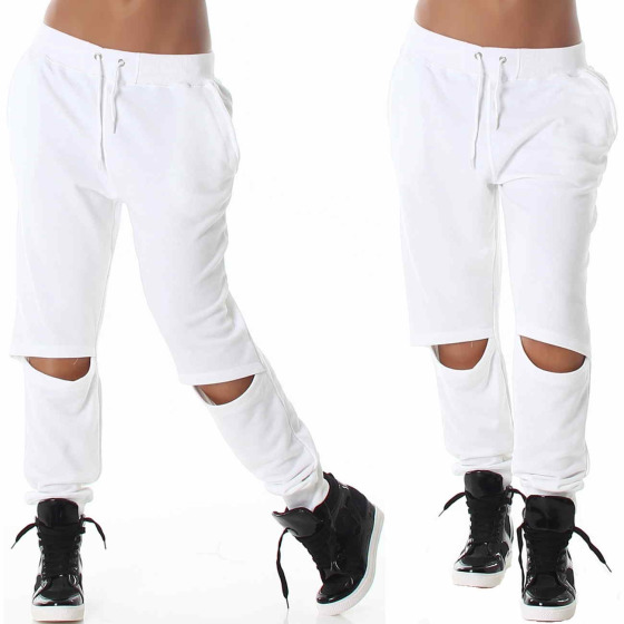 Baggy Sweatpants Jogginghose Haremhose Aladin Loose Fit Knie Cut-Out, Weiss S
