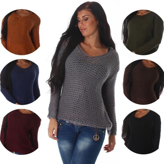 Voyelles Damen Oversize Netz-Pullover Häkelstil Stretch (36-40)