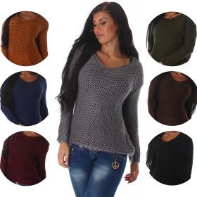 Voyelles Damen Oversize Netz-Pullover Häkelstil...