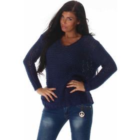 Voyelles Damen Oversize Häkel-Netz Strick-Pullover, Marine Blau