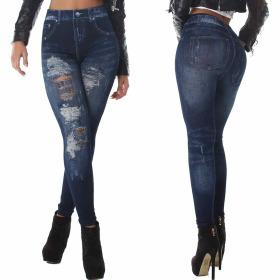Jeans-Look Leggings Jeggings Hoher Bund Print Destroyed...