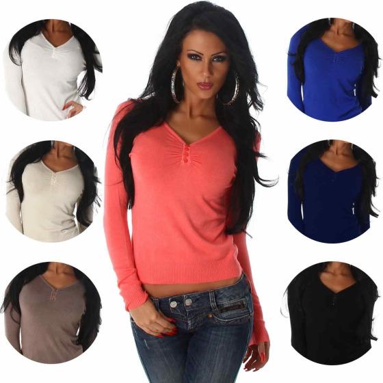 Luxestar Damen Pullover Longsleeve Stretch Knöpfe V-Ausschnitt (34-38) bd1528ba9f