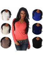 Luxestar Damen Pullover Longsleeve Stretch Knöpfe V-Ausschnitt (34-38)