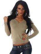 Luxestar Stretch Pullover Longsleeve dünn Knöpfe V-Ausschnitt Braun
