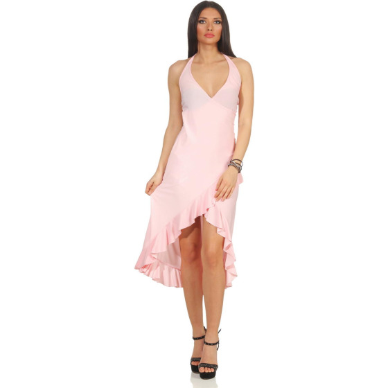 Jela London Vokuhila Tanzkleid Latin Salsa Rock Wickeloptik, Rosa